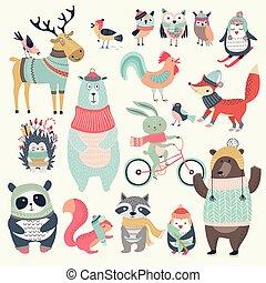 cute, jogo, animais, mão, desenhado, style., natal