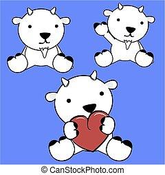 cute, jogo, caricatura, bebê, encantador, cabra