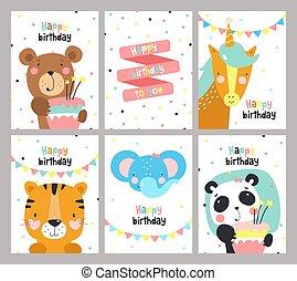 cute, jogo, cartão, aniversário, animals.