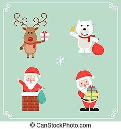 cute, jogo, character., ilustração, vetorial, natal
