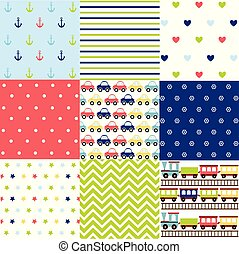 cute, jogo, de, menino bebê, seamless, padrões, com, tecido, texturas