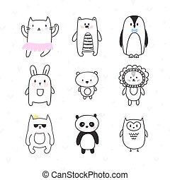 cute, jogo, doodle, cobrança, animals., caráteres, desenhado, sorrindo, mão