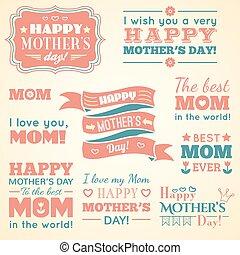 cute, jogo, elements., mães, ilustração, day., vetorial, feliz