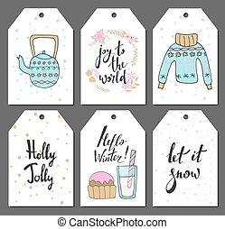 cute, jogo, etiquetas, chaleira, items., ilustração, mão, doces, vetorial, suéter, desenhado, outro, style., natal