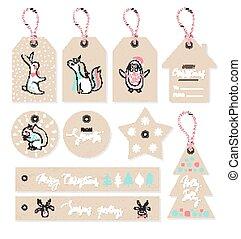 cute, jogo, illustration., etiquetas, animais, mão, vetorial, desenhado, style., natal