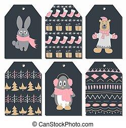 cute, jogo, illustration., etiquetas, penguin., mão, vetorial, urso, desenhado, coelho, style., natal