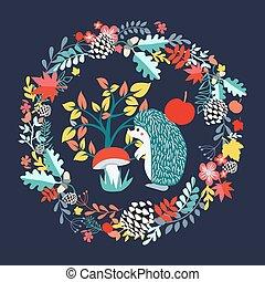 cute, jogo, illustration., floresta, fundo, outono, ouriço