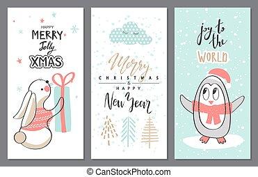 cute, jogo, illustration., saudação, animals., vetorial, feliz natal, cartão