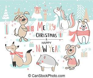 cute, jogo, illustration., year., animals., hand-drawn, vetorial, novo, natal, feliz