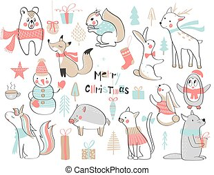 cute, jogo, illustration., year., animals., hand-drawn, vetorial, novo, natal
