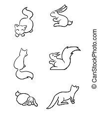 cute, jogo, ilustração, animals., vetorial, desenhado, mão, caricatura
