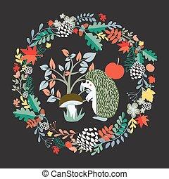 cute, jogo, ilustração, floresta, fundo, ouriço