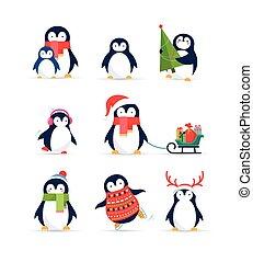 cute, jogo, -, pingüins, saudações, feliz natal