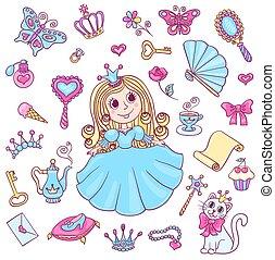 cute, jogo, princesa