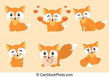 cute, jogo, tímido, fox., folha, sentando, raposa, doce, lustroso, photo., vetorial, desenho, olha, corações, foxes., caricatura, illustration.