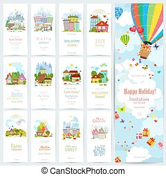 cute, jogo, urbano, doce, quatro, mar, cityscape., bandeiras, paisagem