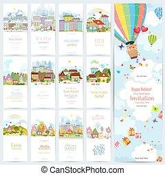 cute, jogo, urbano, quatro, cityscape., bandeiras, encantador, paisagem