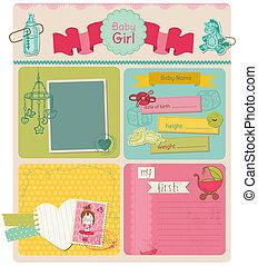 cute, jogo, -, vetorial, desenho, bebê, scrapbook, menina, elementos