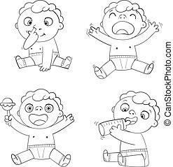 cute, jogos, comer, chocalho, sobs, laughs., criança, bebê, bottle., leite, criança