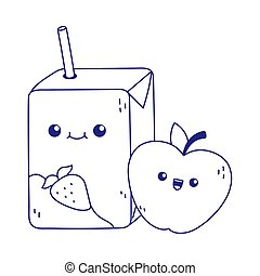 cute juice box and apple kawaii cartoon character