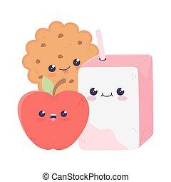 cute juice box cookie and apple kawaii cartoon character