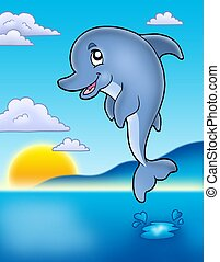 Cute jumping dolphin with sunset