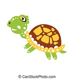 Cute jumping green turtle