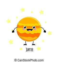 Kawaii Jupiter planet with the happy fase. Planet characters vector illustration isolated on white background.