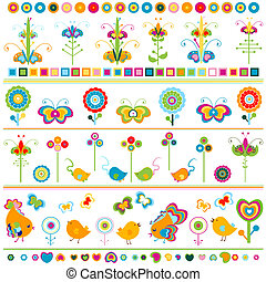 cute, kanter, elementer, farverig