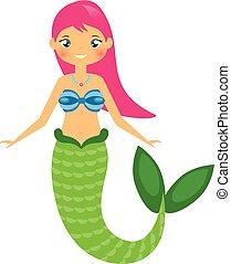 cute, karakter, illustration, style., vektor, cartoon, havfrue