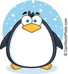 cute, karakter, sne, pingvin