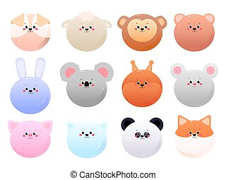 Cute Kawaii Animals isolated on a white background. Vector