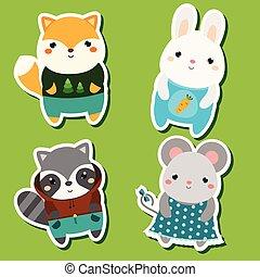 Cute kawaii animals stickers set. Vector illustration. Fox, rabbit, raccoon, mouse