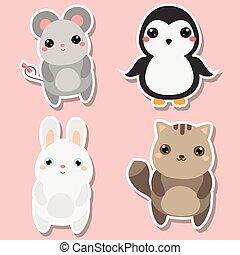 Cute kawaii animals stickers set. Vector illustration. Mouse, penguin, cat, rabbit