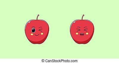 Cute Kawaii Apple, Cartoon Ripe Fruit. Vector