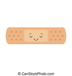 Cute kawaii band aid icon on white background. vector illustration