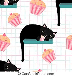 Cute kawaii black sleeping cats holding a pink cupcake with paws. Vector seamless pattern background. Cheeky cartoon kittens with dangling tails and muffins on graph style backdrop. Pet all over print
