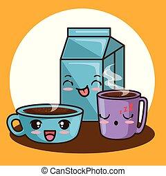 cute kawaii breakfast food cartoon