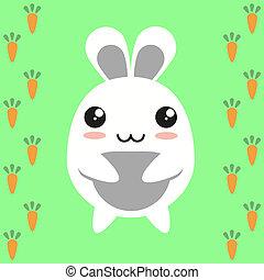 Cute kawaii bunny on carrot background, flat design.