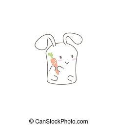 Cute Kawaii Bunny with a Carrot