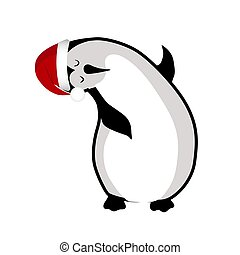 cute kawaii characters. Arctic penguin. Funny animal in New Year s.