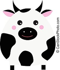 Cute kawaii cow character. Children style, vector illustration