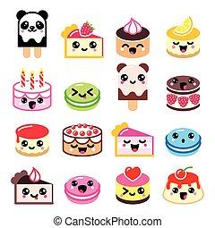 Cute Kawaii dessert - cake icons - Vector icons set of ...