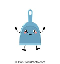 Cute kawaii dustpan in a flat style vector illustration isolated