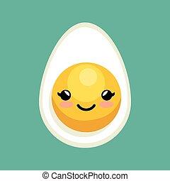 cute kawaii egg breakfast icon design