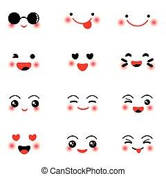 Cute kawaii face icon set on white background
