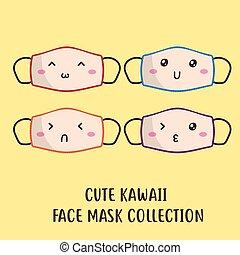 cute kawaii face mask pattern vector design
