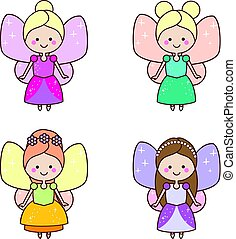 Cute kawaii fairies characters. Winged pixie princess in beautiful dresses. Cartoon style, girls kids stickers
