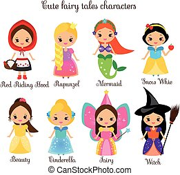 Cute kawaii fairy tales characters. Snow white, red riding hood, rapunzel, cinderella. Princess in beautiful dresses. Cartoon style. Children stickers , kids illustration, toddlers fashion prints