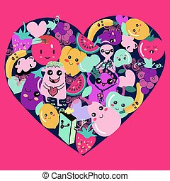 Cute Kawaii fruit and vegetable icons in heart shape.